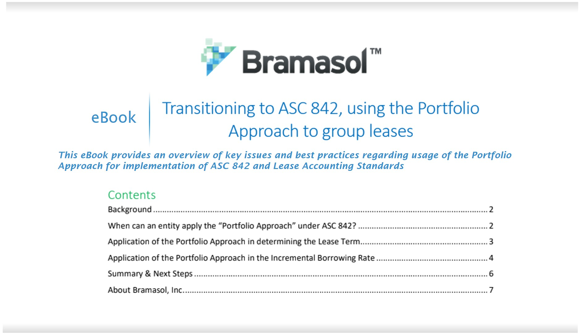 new ebook on Transitioning to ASC 842, using the Portfolio Approach to Group Leases